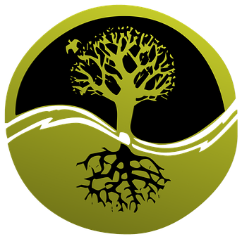 Roots clipart rooted tree. Root logo clip art