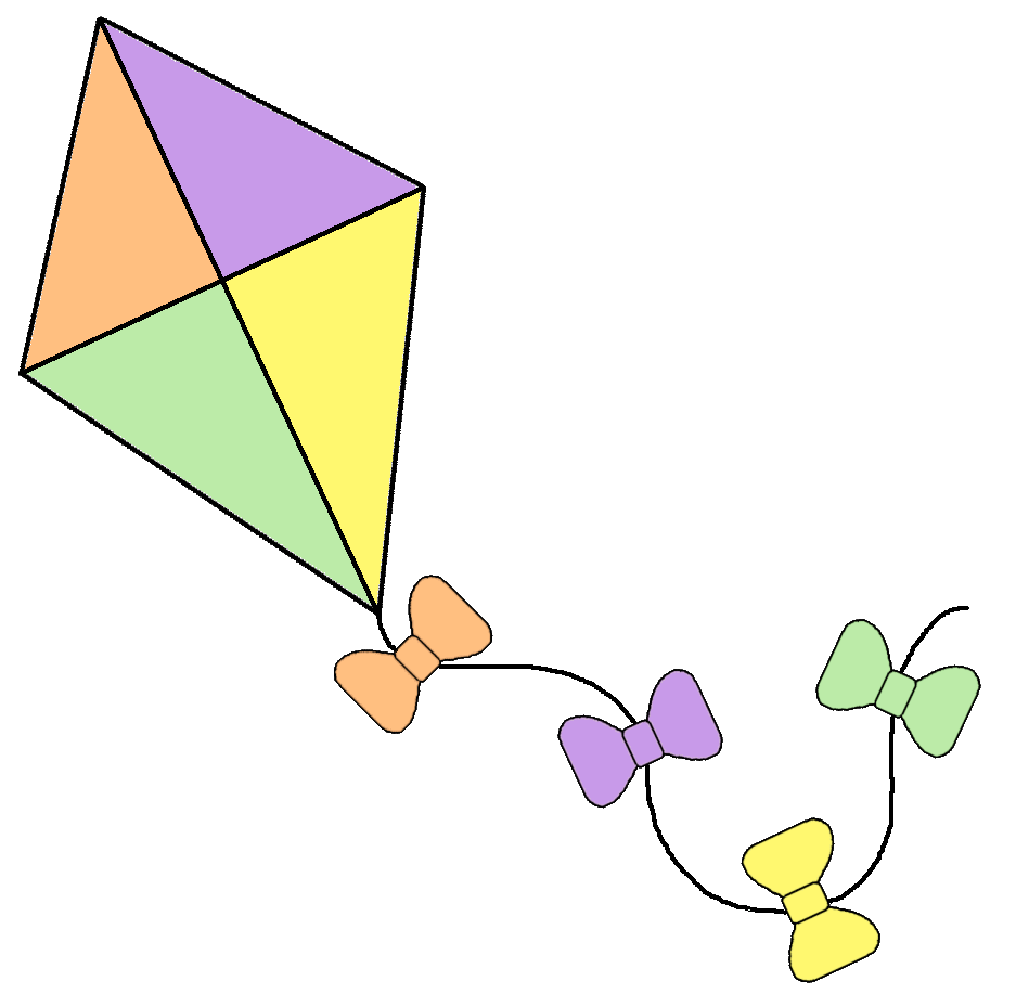 Rope clipart kite. Pencil and in color