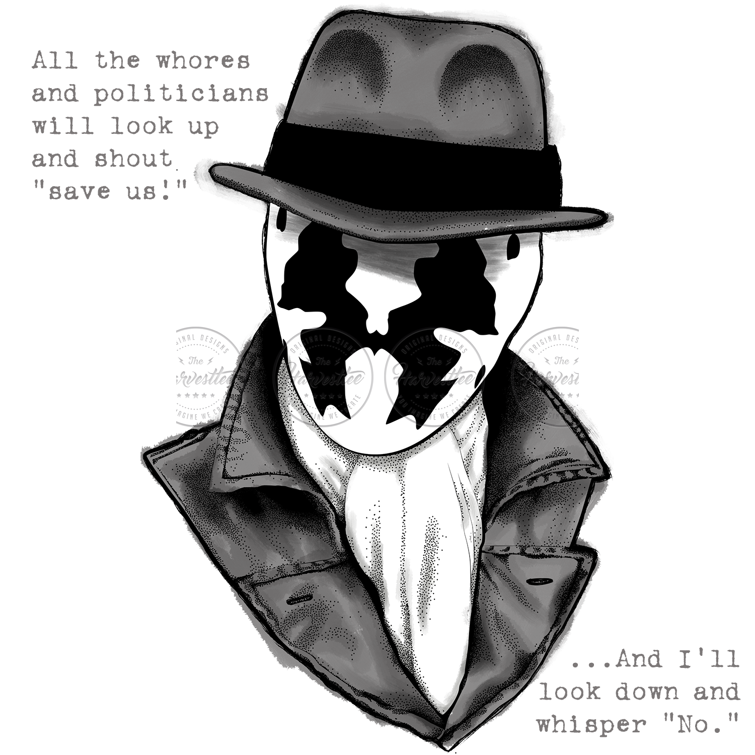 Camiseta de watchmen dc. Rorschach drawing picture library stock