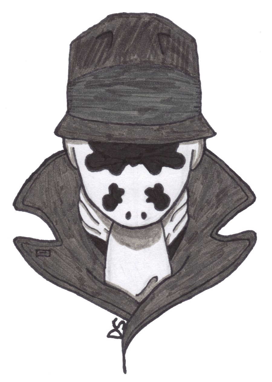Rorschach drawing. In black and white