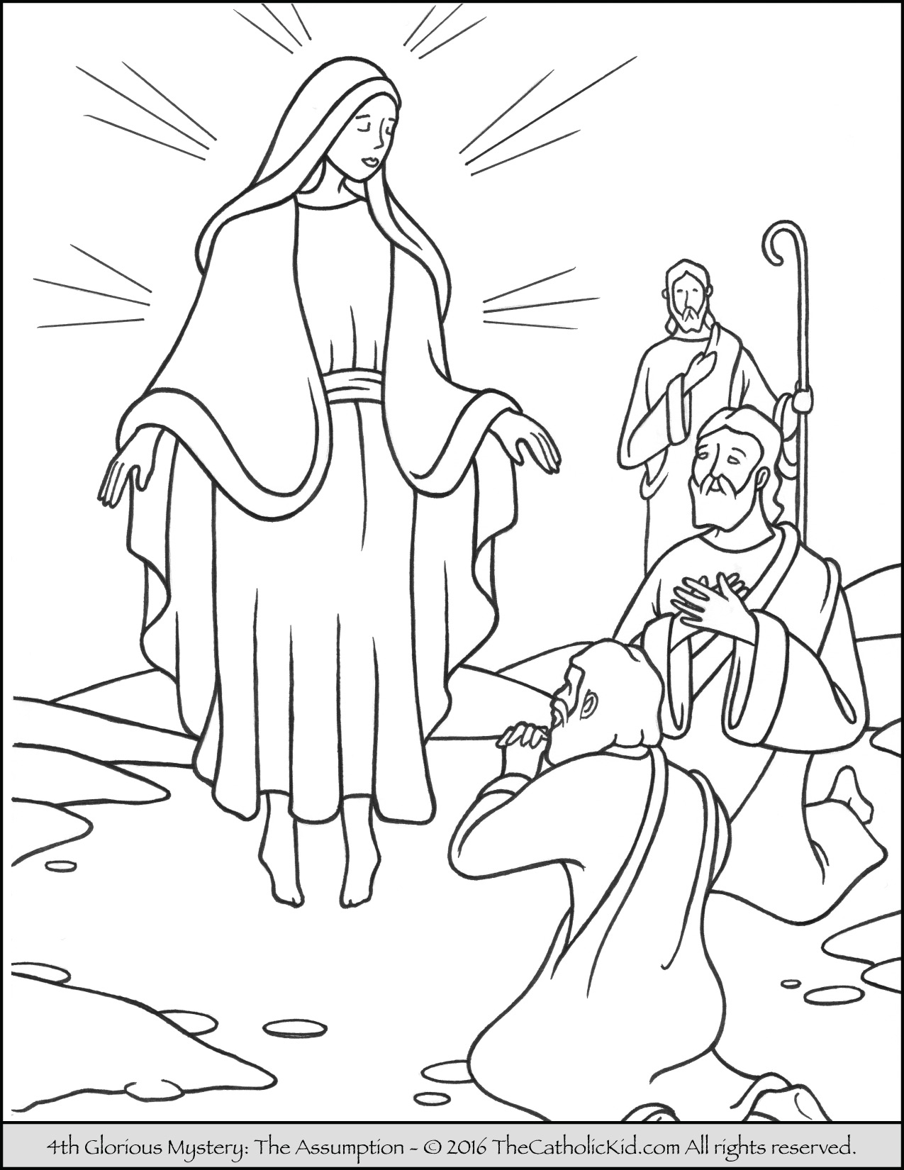 Rosary clipart kid worksheet. Glorious mysteries coloring pages