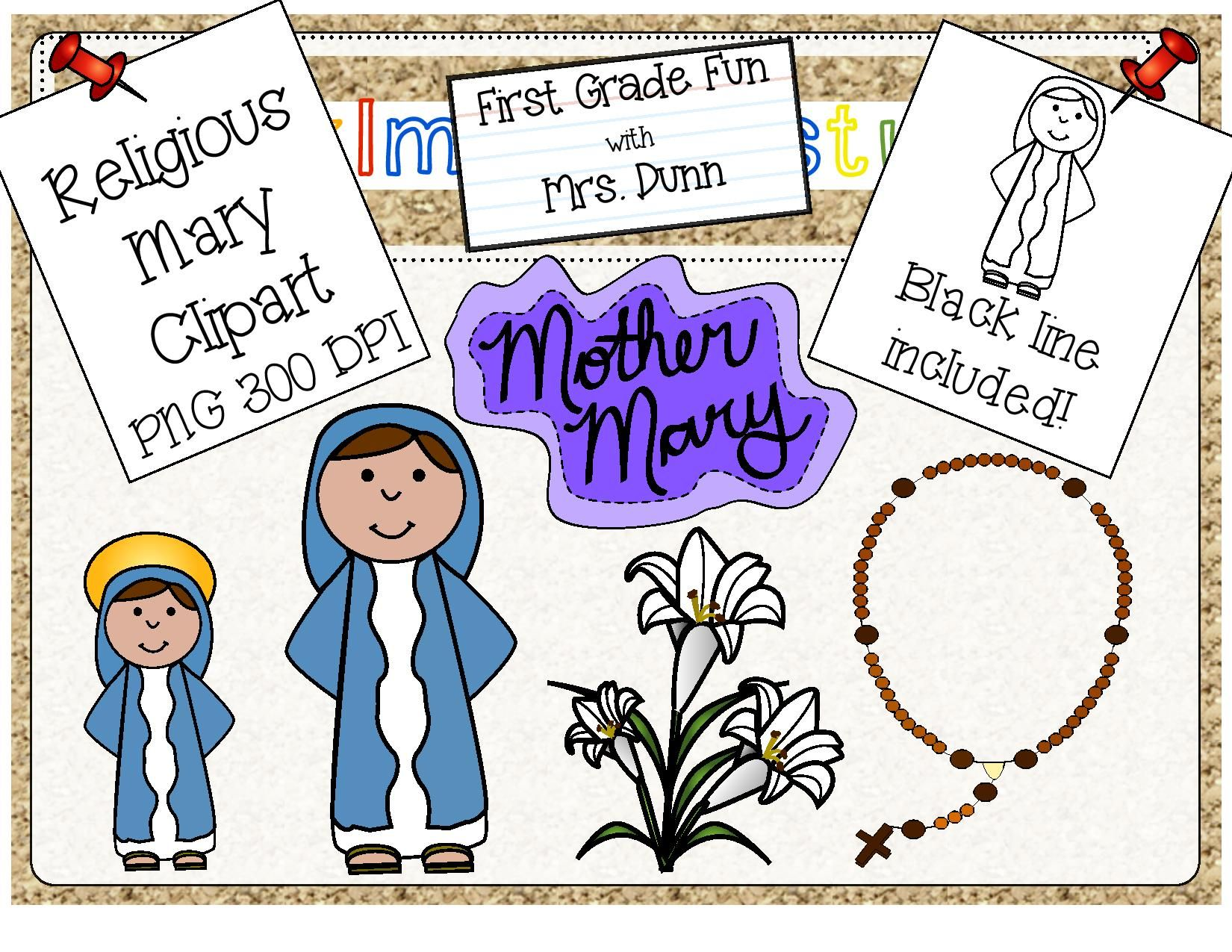 Rosary clipart month. Religious mary clip art