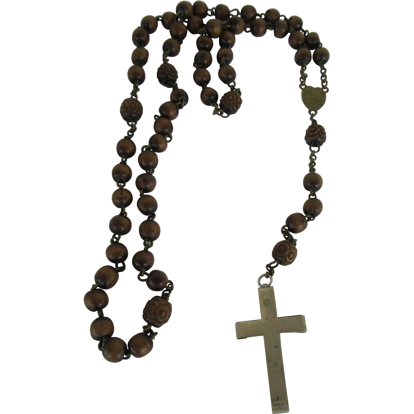 Vintage ebony france wooden. Rosary transparent clip royalty free library