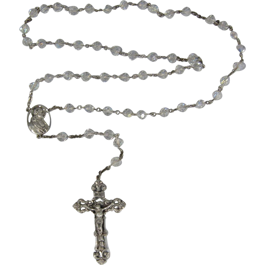Rosary transparent. Vintage italian sterling silver