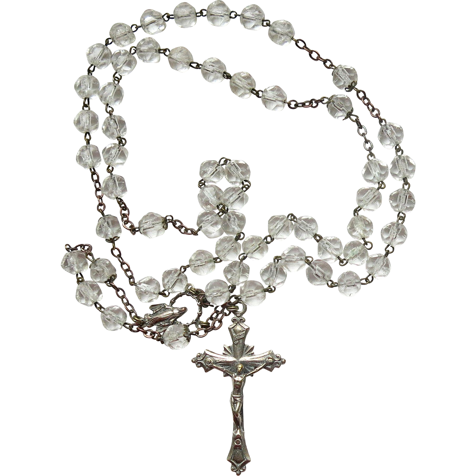 Vintage miraculous medal beads. Rosary transparent image library stock