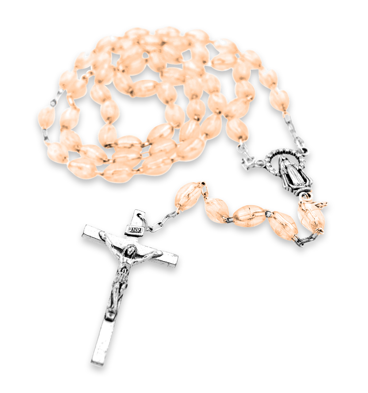 Rosary transparent beads. Rose village gift importers