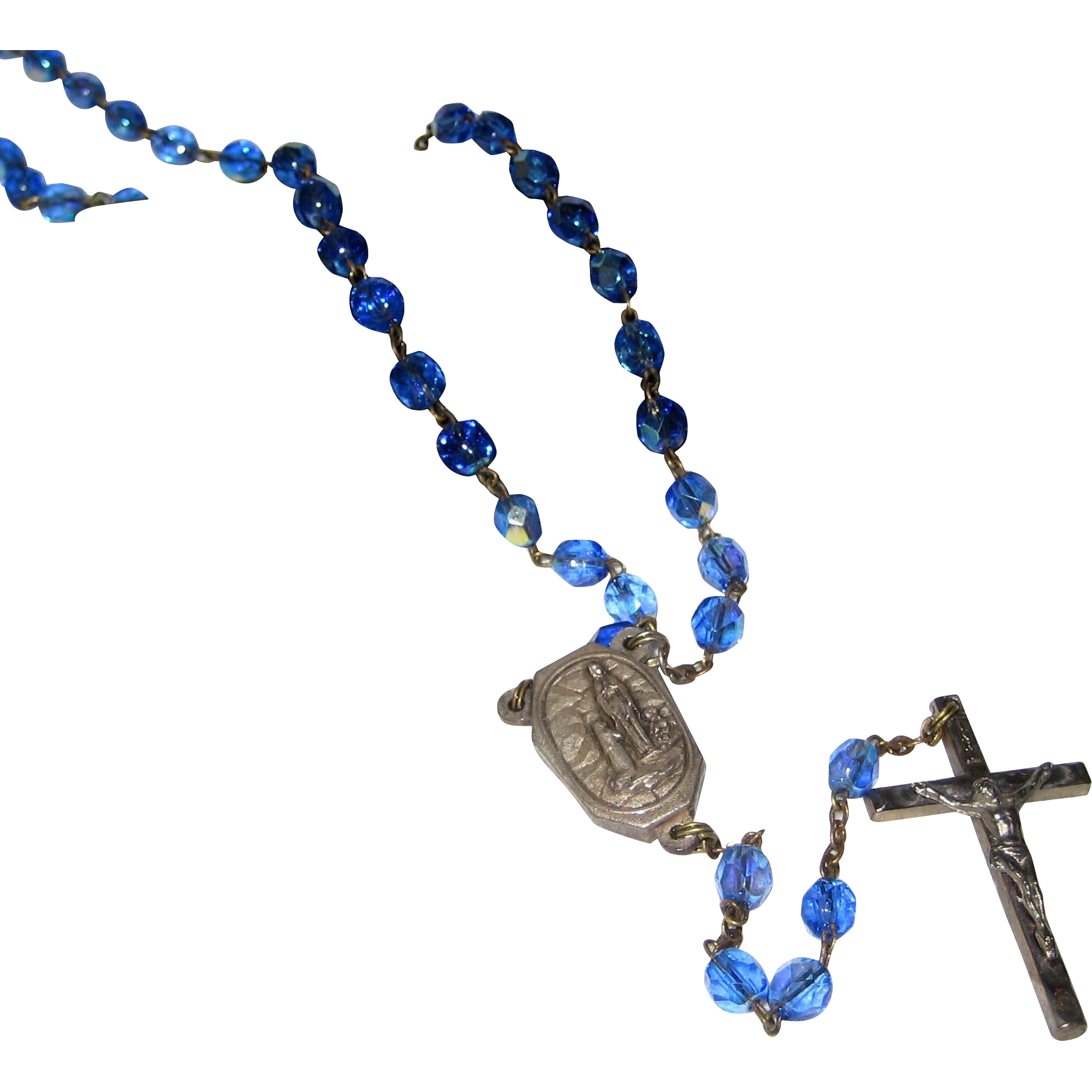 Lourdes pilgrimage with faceted. Rosary transparent blue picture library