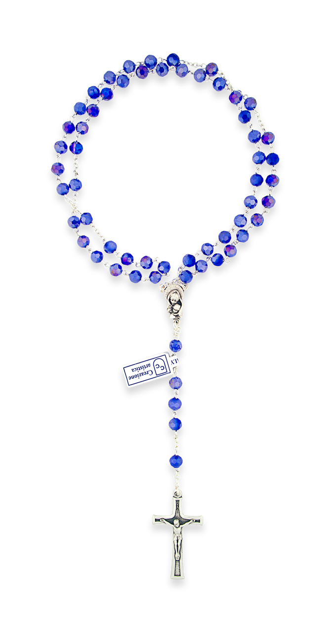 Deep beads village gift. Rosary transparent blue banner library library