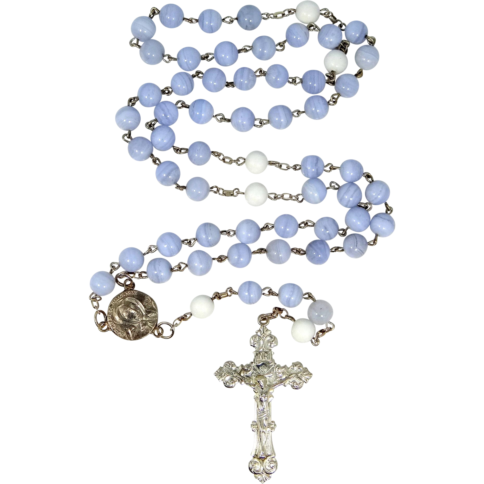 Rosary transparent blue. Sterling silver and lace