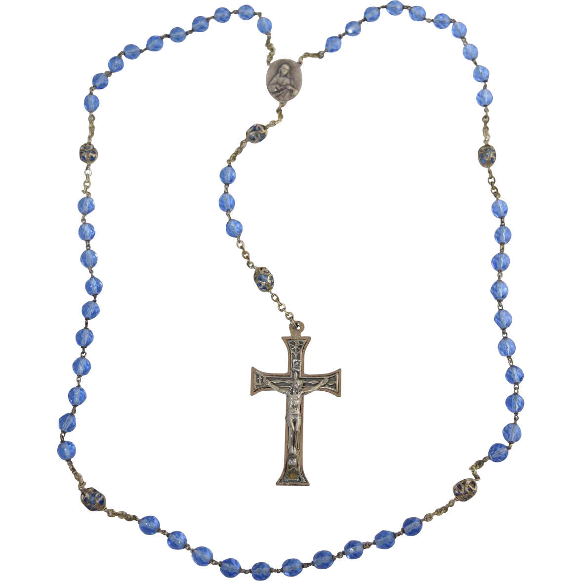 Vintage italian faceted crystal. Rosary transparent blue graphic transparent library