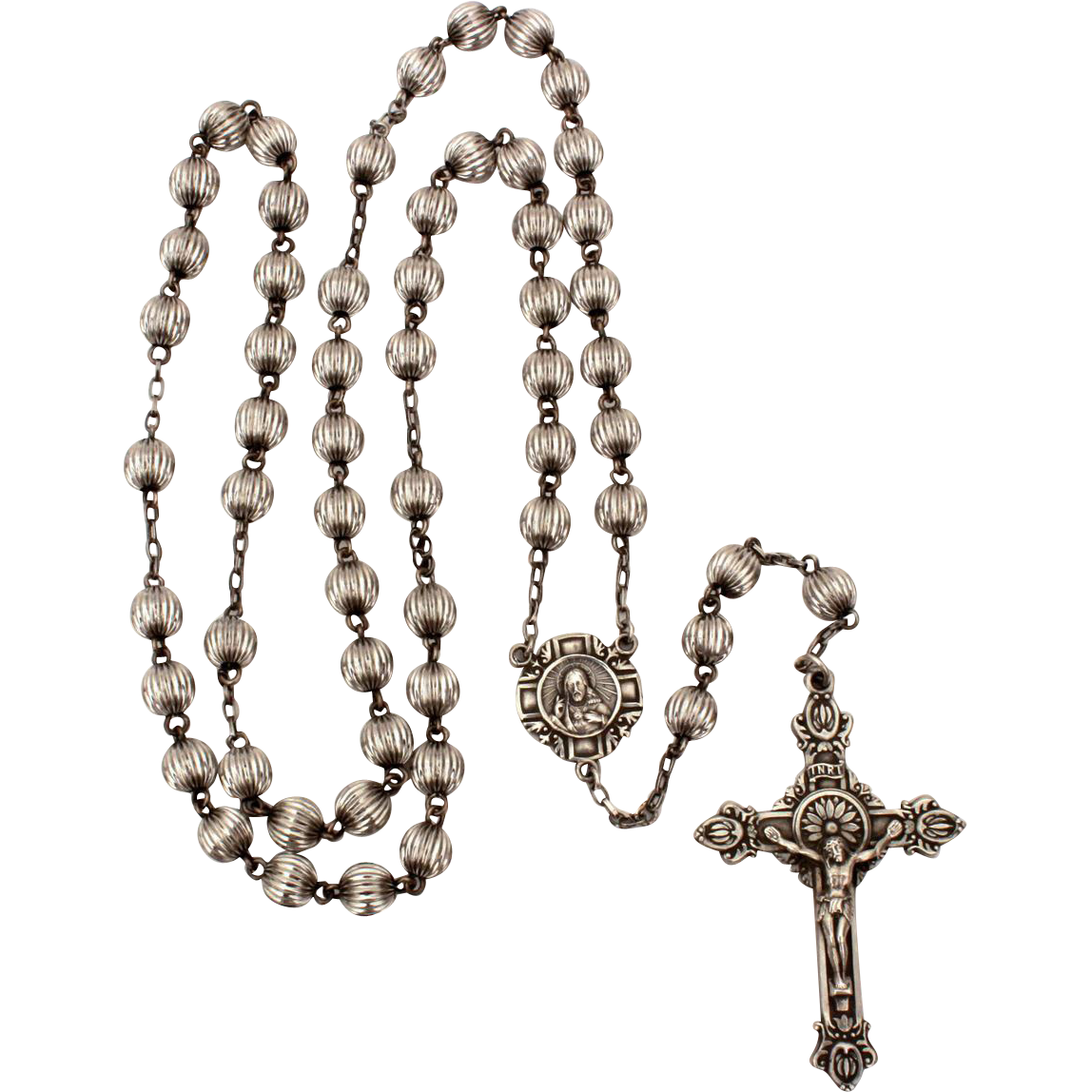 Rosary transparent metal. Sterling hill mark with