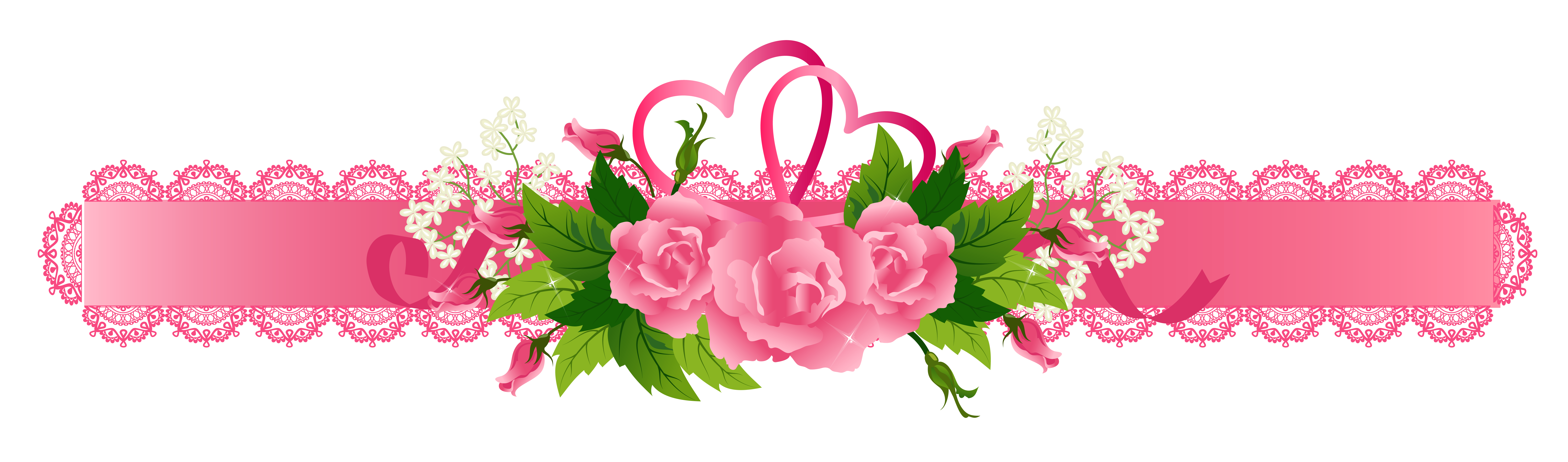 Rose banner png. Decorative pink ribbon with