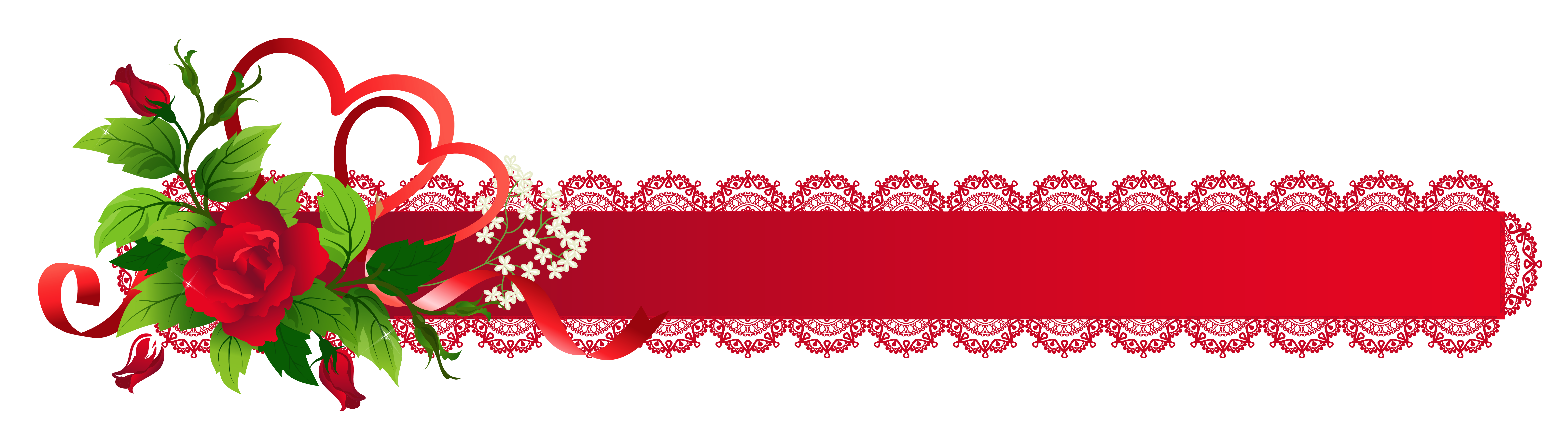 Christmas ribbon border png. Red deco with rose