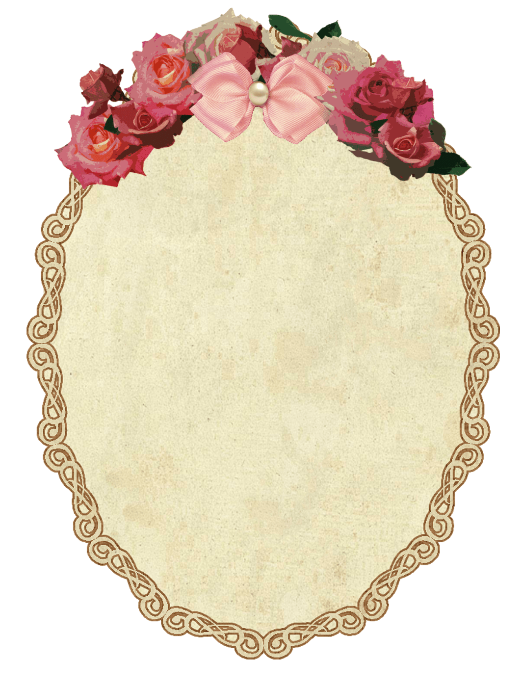 Oval gold frame png. Rose circle vintage transparent