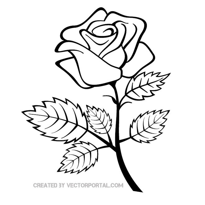 Rose clipart. Clip art black and