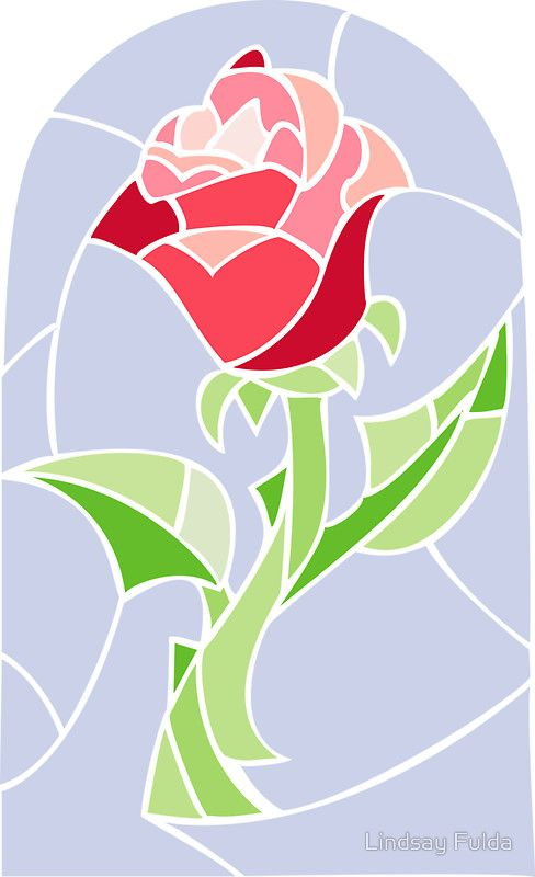 Rose clipart beauty and the beast. Stain glass la belle