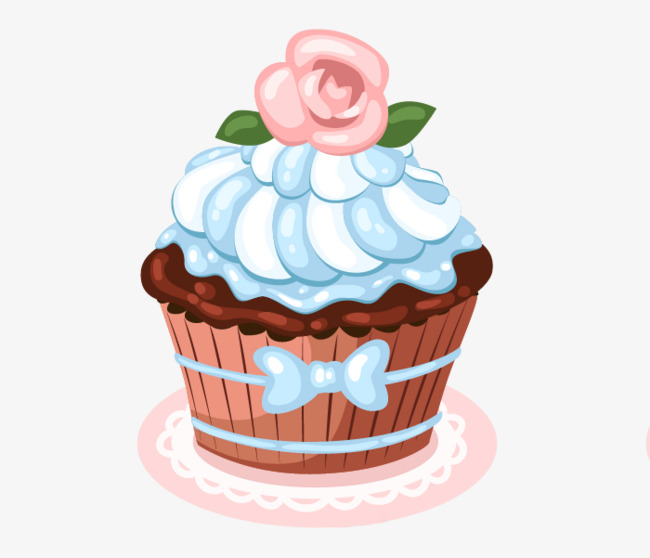 Rose clipart cupcake. Cartoon hand painted paper