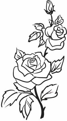 Roses clipart black and white. Flowers vine leaves bud