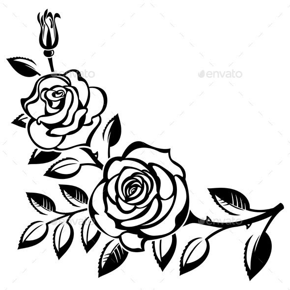 Roses clipart black and white. In drawing at getdrawings