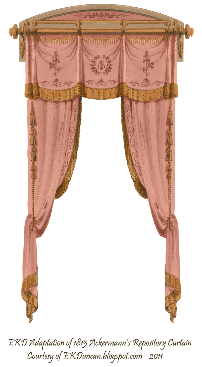 Rose curtains png. French curtain by