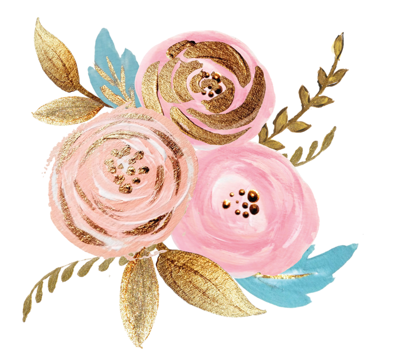 Rose gold flower png. Pink watercolor plant ink