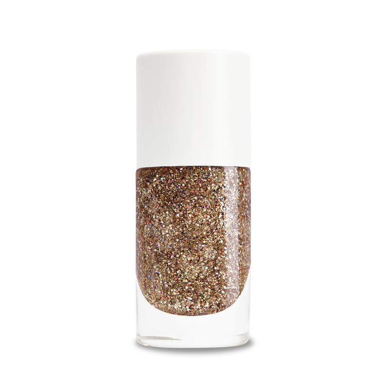 Rose gold glitter png. Plant based nail polish