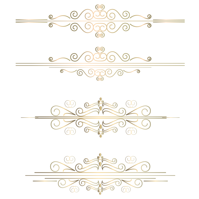 Vector gold line. Rose pattern boarder png