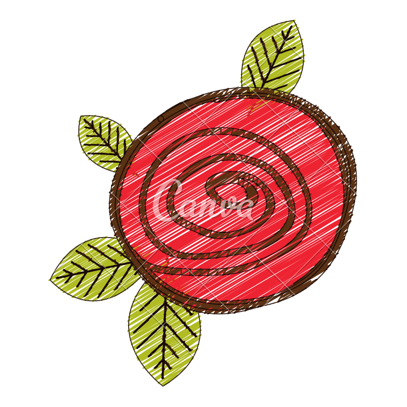 Roses clipart doodle. Red rose with leaves