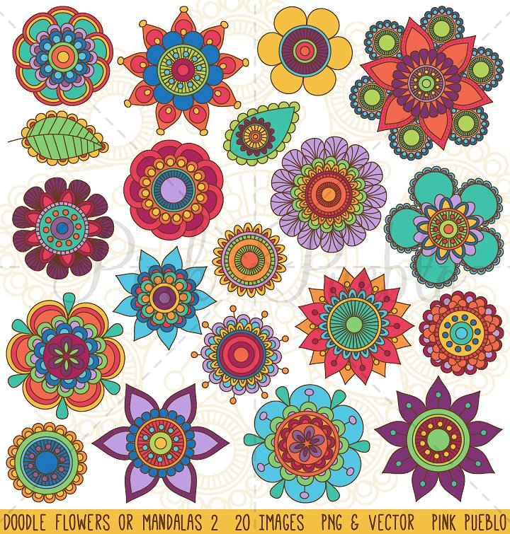 Roses clipart doodle. Flowers and mandalas illustrations