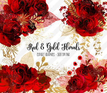 Roses clipart glitter. Red and gold floral
