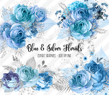 Roses clipart glitter. Blue and silver floral