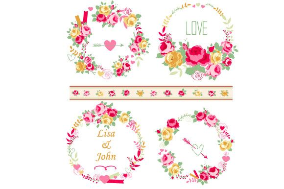Roses clipart shabby chic. Wreaths set by digital