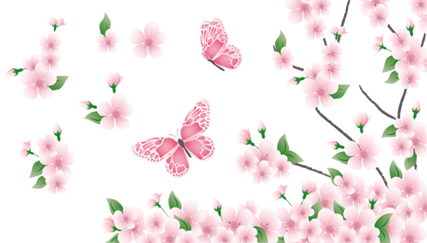 Flower spring png. Branch with pink flowers