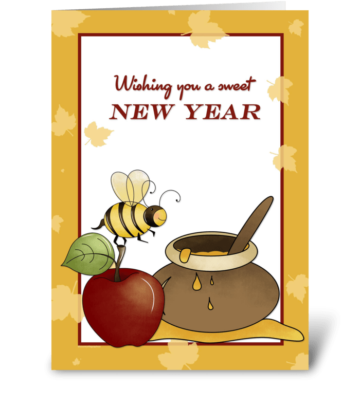 Rosh hashanah clipart apple honey. Bee and send this