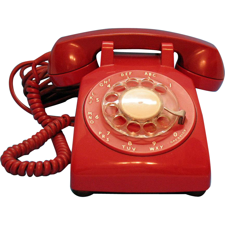 Rotary phone png. Vintage red desk dial
