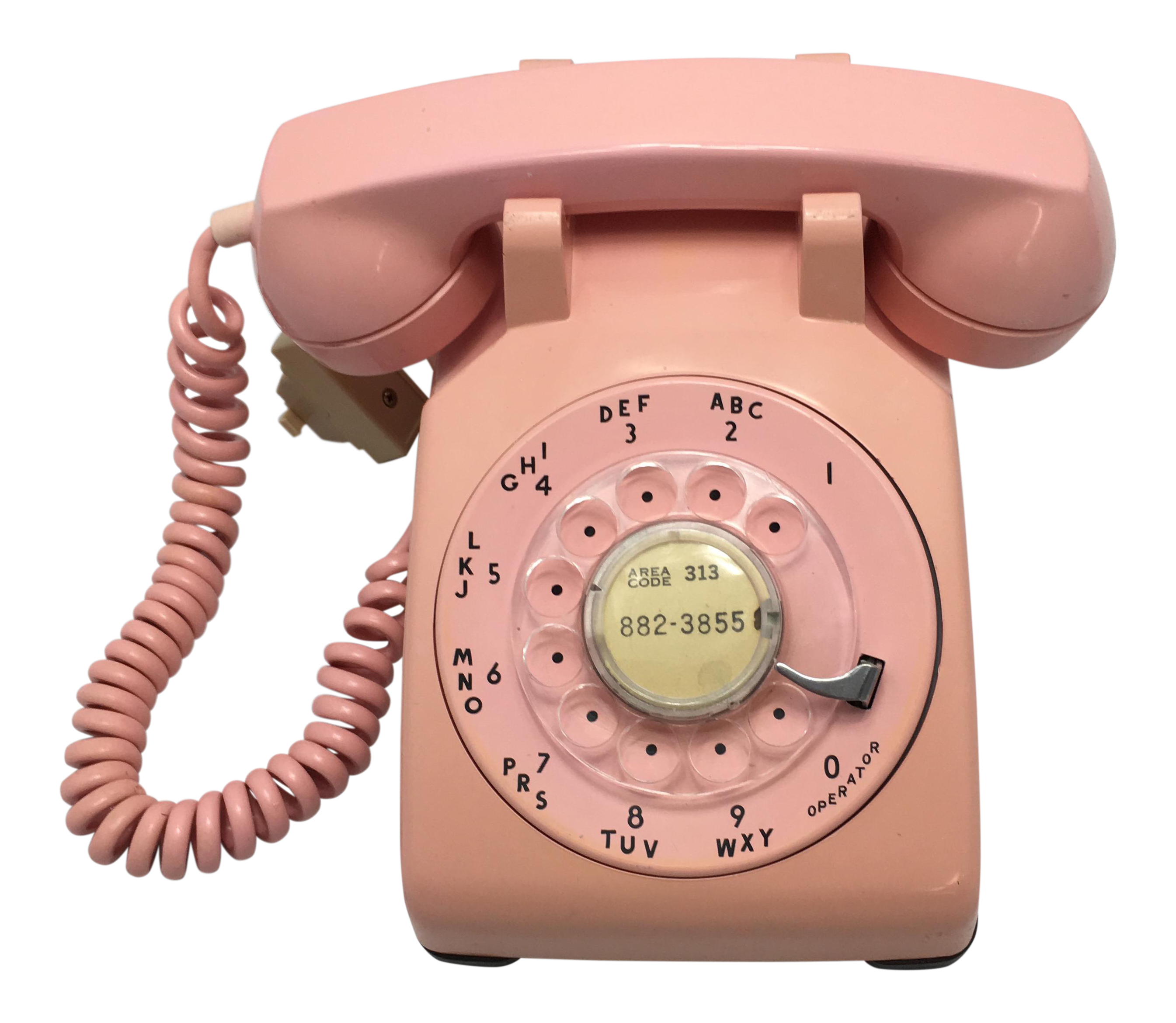 Vintage telephone png. Pink rotary dial