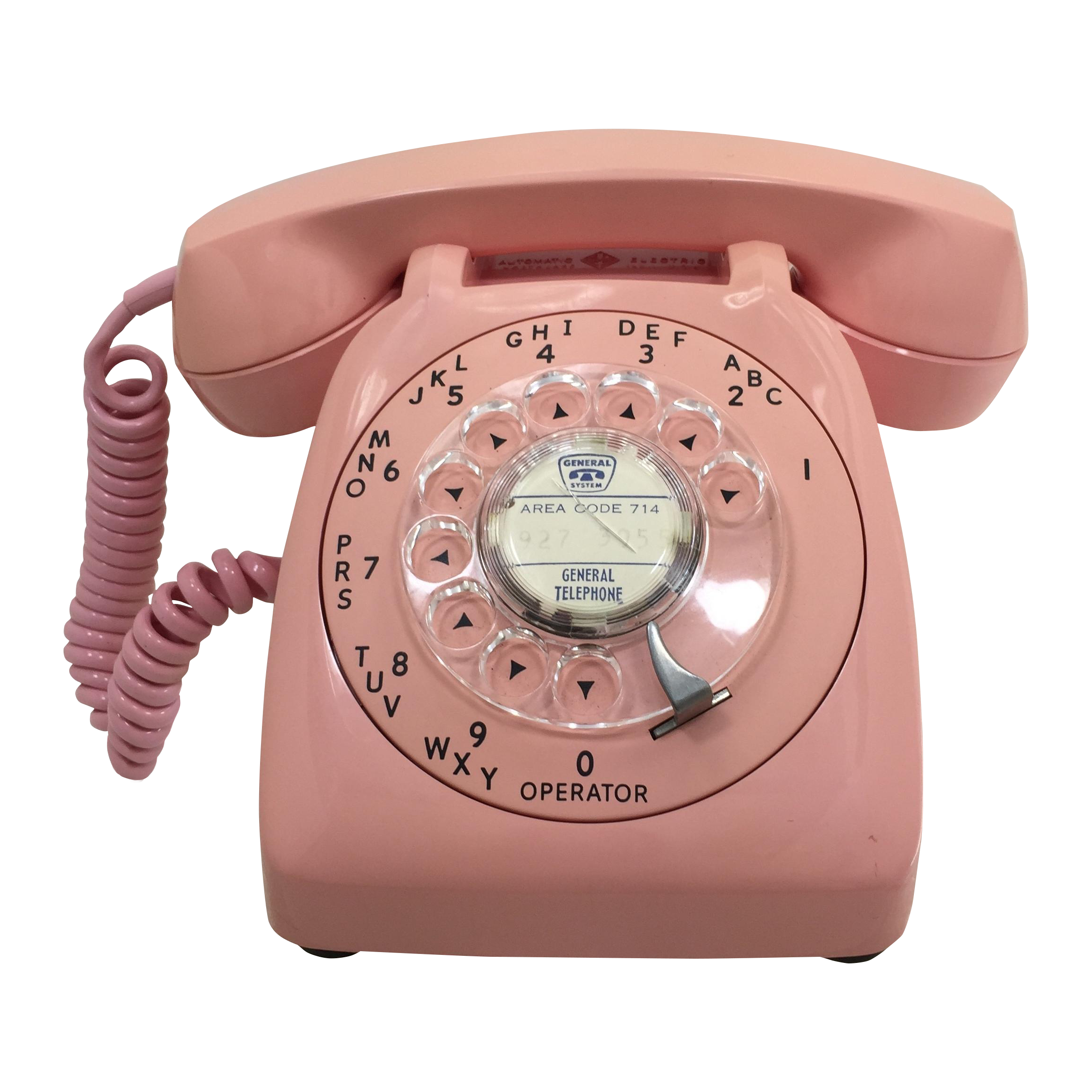 Vintage telephone png. Pink automatic electric rotary
