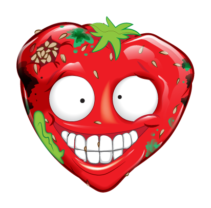 Rotten strawberry. Sour the grossery gang