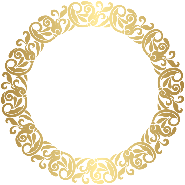 Round borders png. Gold border frame clip