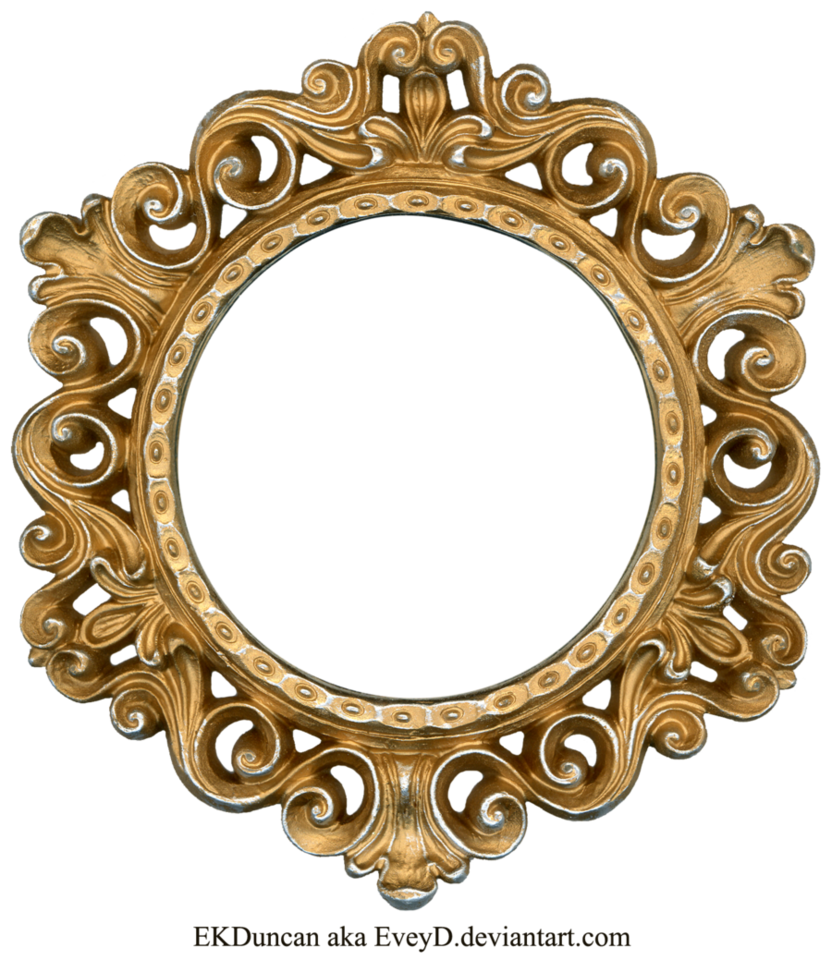 Round gold frame png. Ornate and silver by