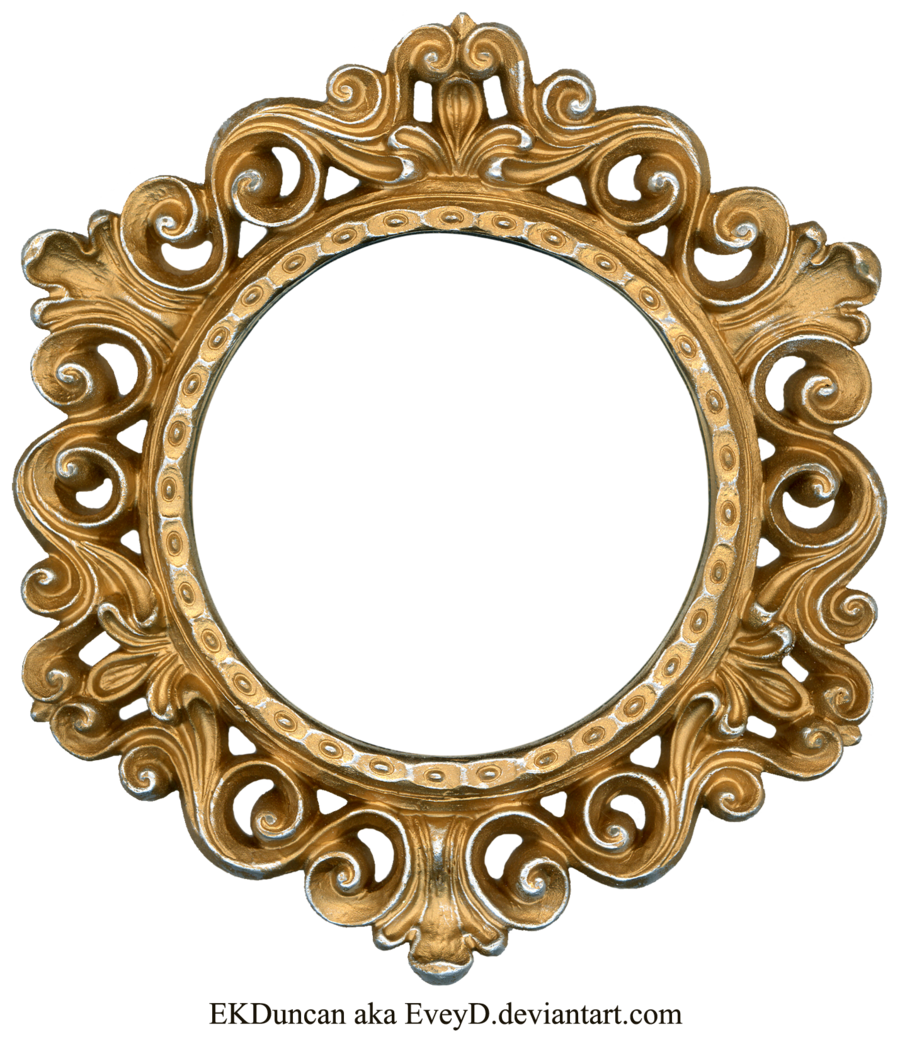 Round picture frame png. Ornate gold and silver