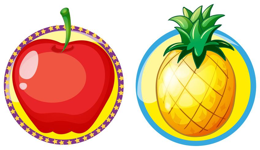 Round pineapple. Red apple and on