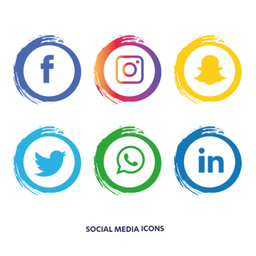 Round social media buttons png. Icons vectors psd and
