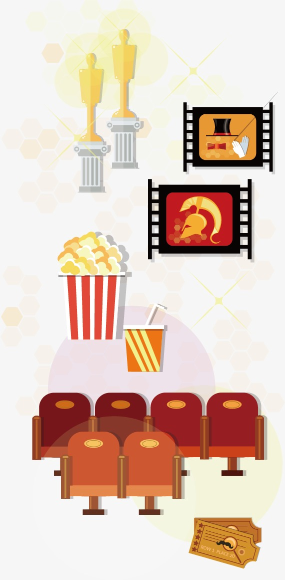 Row clipart and popcorn. Vector film elements the
