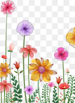Row clipart row spring flower. A of flowers png