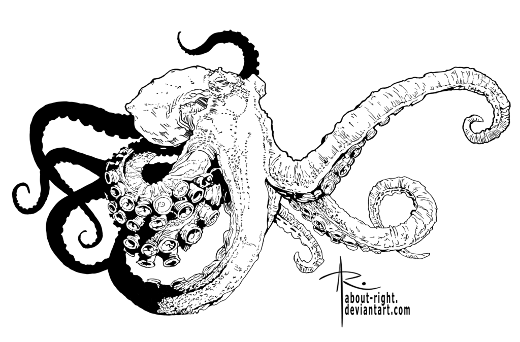 Scholarships drawing octopus. Inked by about right
