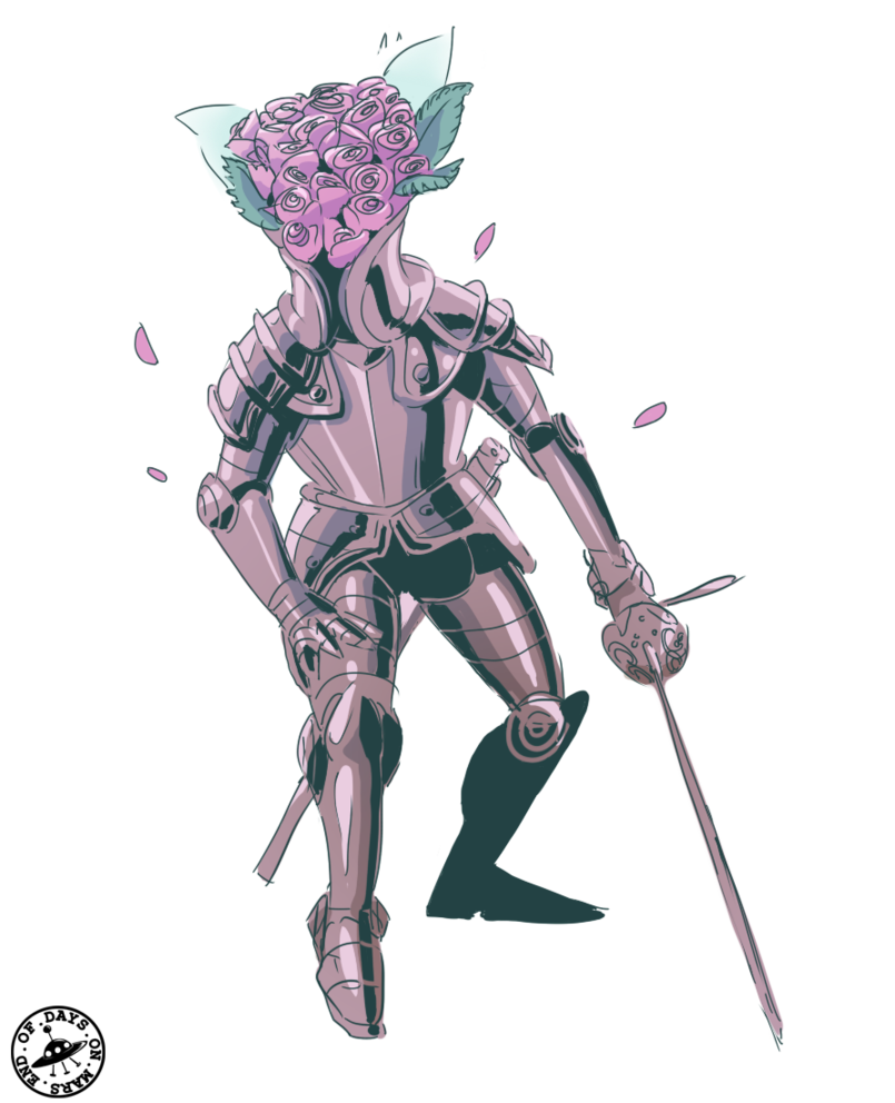 Royal drawing sketchbook. Digital bouquet knight by