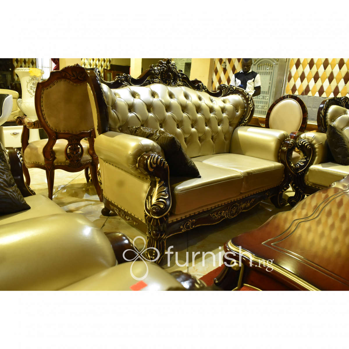 Royal drawing sofa. Luxury with animal skin