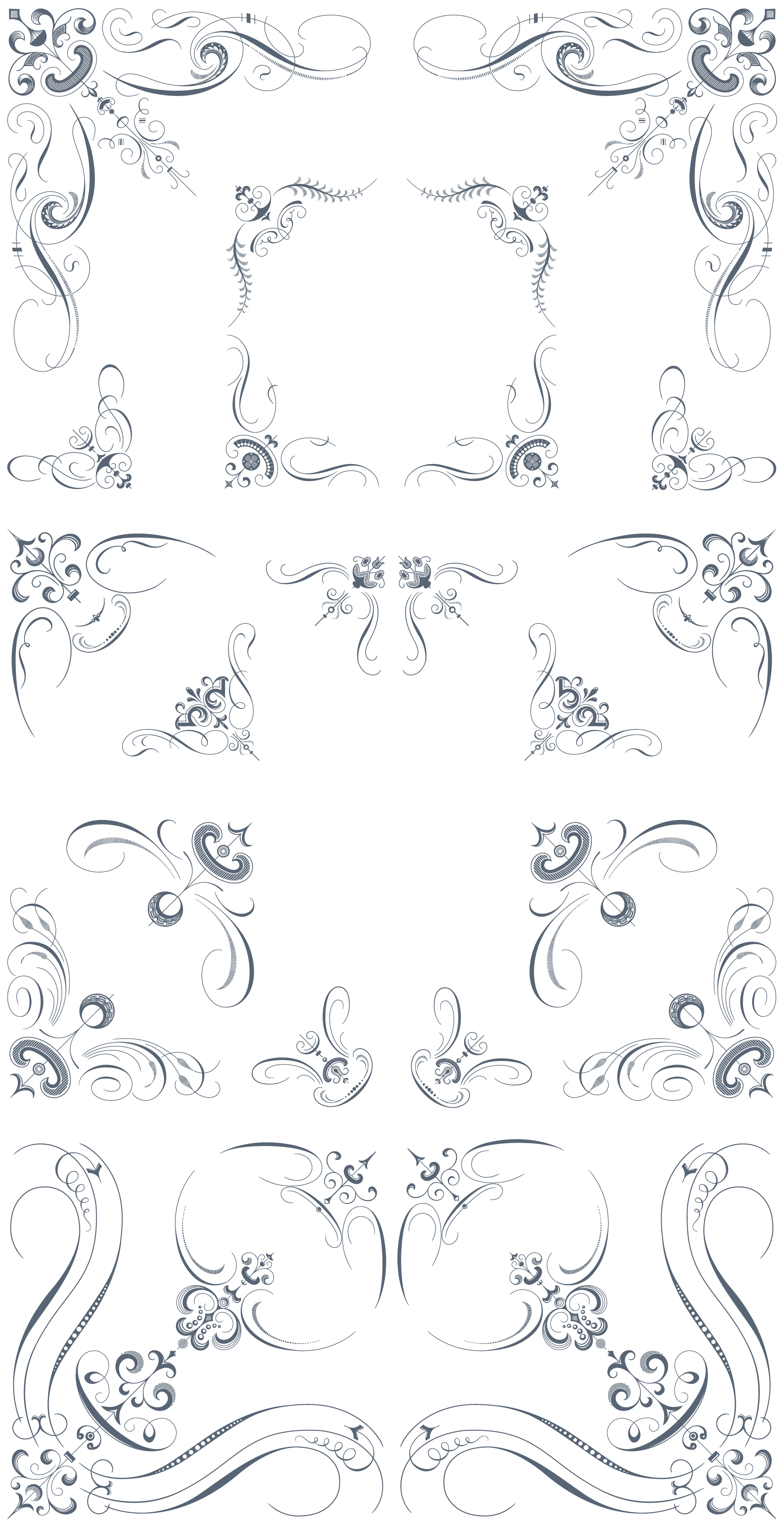 Luxurious flourishes pack ornaments. Royal vector filigree svg royalty free