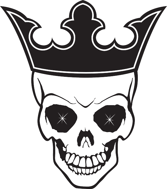 Vector skeleton crown. Symbol sch del tod